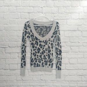 Express | Gray Cheetah Print V-neck Sweater